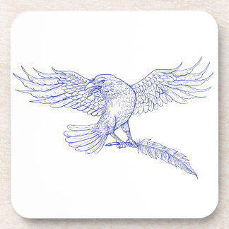 Raven Carrying Quill Drawing Coaster