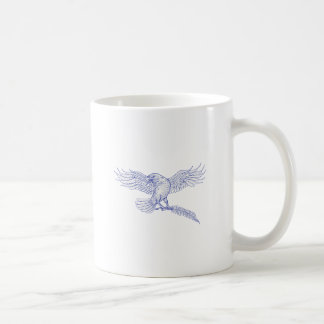 Raven Carrying Quill Drawing Coffee Mug