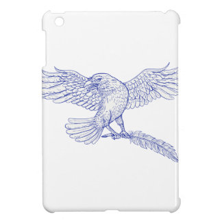 Raven Carrying Quill Drawing iPad Mini Cases