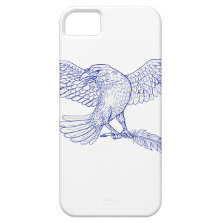 Raven Carrying Quill Drawing iPhone 5 Cases