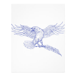 Raven Carrying Quill Drawing Letterhead