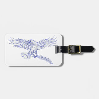 Raven Carrying Quill Drawing Luggage Tag