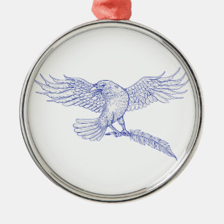 Raven Carrying Quill Drawing Metal Ornament