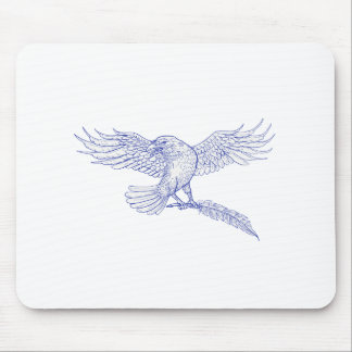 Raven Carrying Quill Drawing Mouse Pad