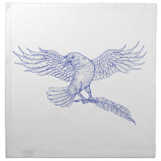 Raven Carrying Quill Drawing Napkin