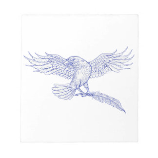 Raven Carrying Quill Drawing Notepad