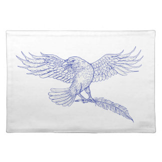 Raven Carrying Quill Drawing Placemat