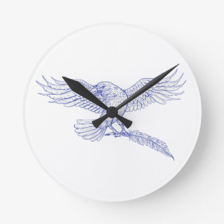 Raven Carrying Quill Drawing Round Clock
