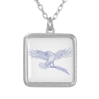 Raven Carrying Quill Drawing Silver Plated Necklace