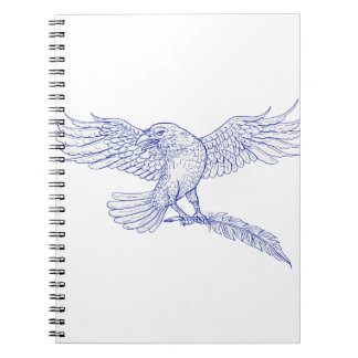 Raven Carrying Quill Drawing Spiral Notebook