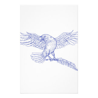 Raven Carrying Quill Drawing Stationery