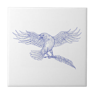 Raven Carrying Quill Drawing Tile