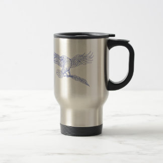 Raven Carrying Quill Drawing Travel Mug