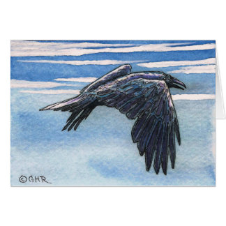 Raven Corvid Crow Original Art Note Card