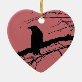 Raven Cracked Heart Ceramic Heart Ornament