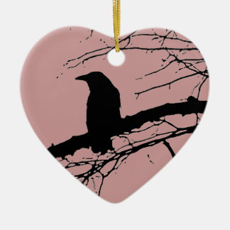 Raven Cracked Heart Ceramic Ornament