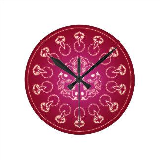 Raven Crow Bird Pentagram Wicca Pagan Spiral Self- Round Clock