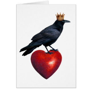 Raven Crown Red Heart Card