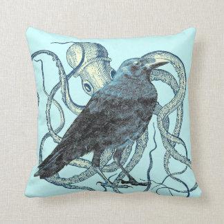 Raven Dreams of the Octopus Throw Pillow