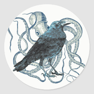 Raven Entangled By Octopus Sticker