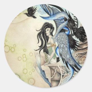 Raven Faery Round Sticker