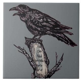 Raven Gray Art Ceramic Tile Trivet Personalize It