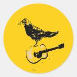 raven guitar song round sticker