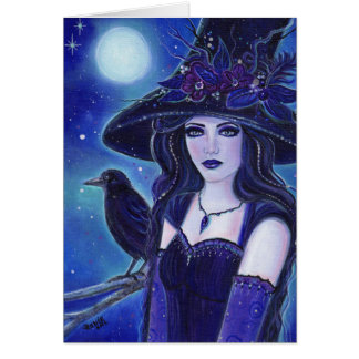 Raven Halloween witch greeting card by Renee
