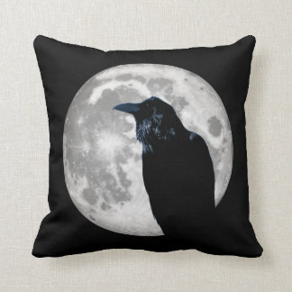 Raven In the Moon Throw Pillow