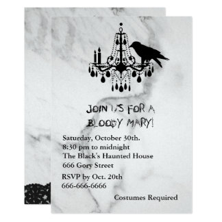 Raven, Mable and Black Cat Halloween Invitation