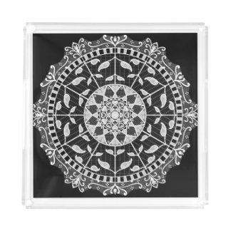 Raven Mandala Acrylic Tray