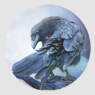 Raven Moon Art Sticker