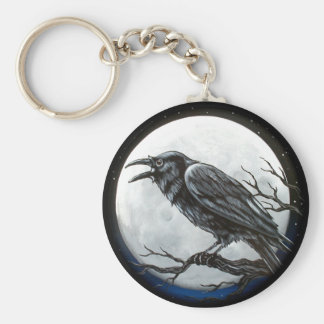 Raven Moon Basic Round Button Keychain