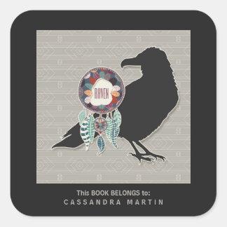 Raven Native American Animal Spirit Book Square Sticker