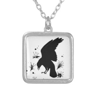 Raven Nevermore Silver Plated Necklace