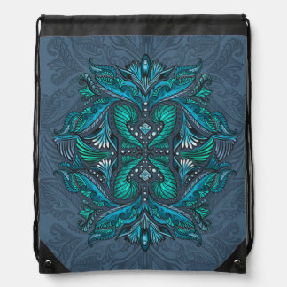 Raven of mirrors, dreams, bohemian, shaman drawstring bag