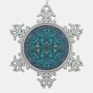 Raven of mirrors, dreams, bohemian, shaman snowflake pewter christmas ornament