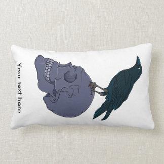 Raven On A Human Skull Lumbar Pillow