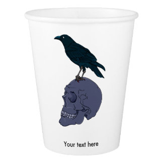 Raven on a Skull Paper Cup