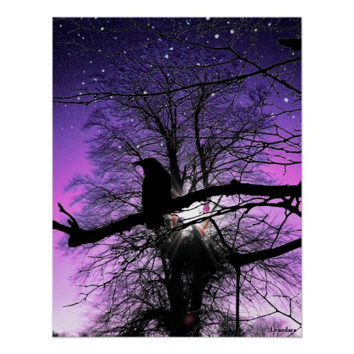 Raven on the Tree Print