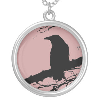 Raven on the Tree Silver Plated Necklace
