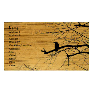 Raven on the Tree with wooden background Business Card