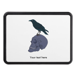 Raven Or Crow Standing On A Skull Hitch Cover