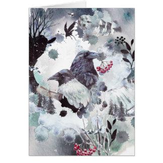 Raven Pair - Abstract Winter Scene Card