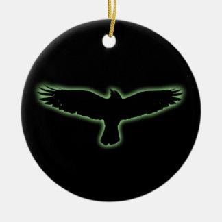 Raven Round Ceramic Ornament