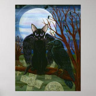 Raven s Moon Black Cat Crow Gothic Art Poster