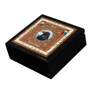 Raven  -Sacred Magic- Wood Gift Box w/ Tile
