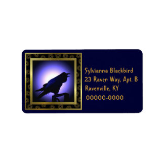 Raven Silhouette Against the Moon Label