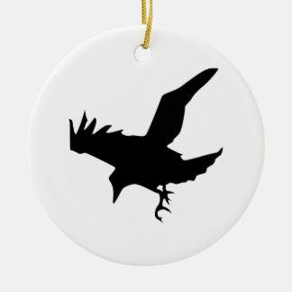 Raven Silhouette Ceramic Ornament