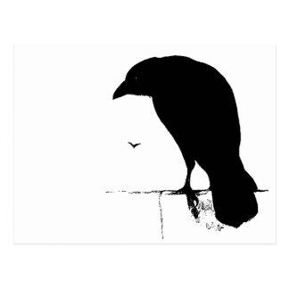 Raven Silhouette - Vintage Goth Ravens & Crows Postcard
